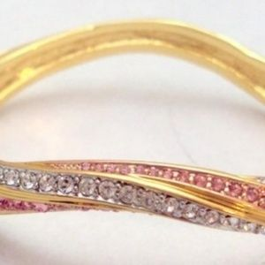 Nolan Miller Wavy Pink, Clear Rhinestone Bangle